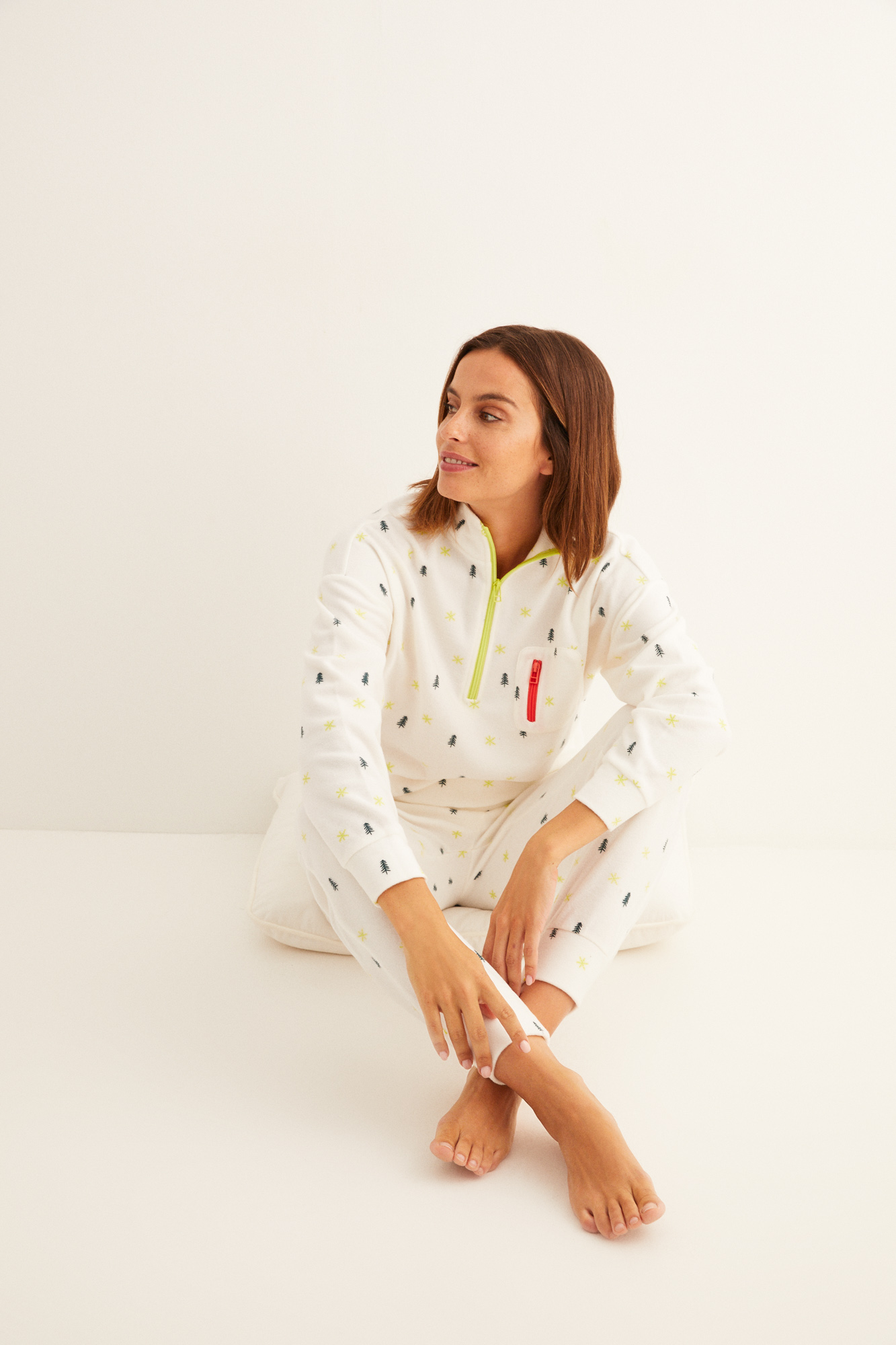 Pijama largo polar cremallera