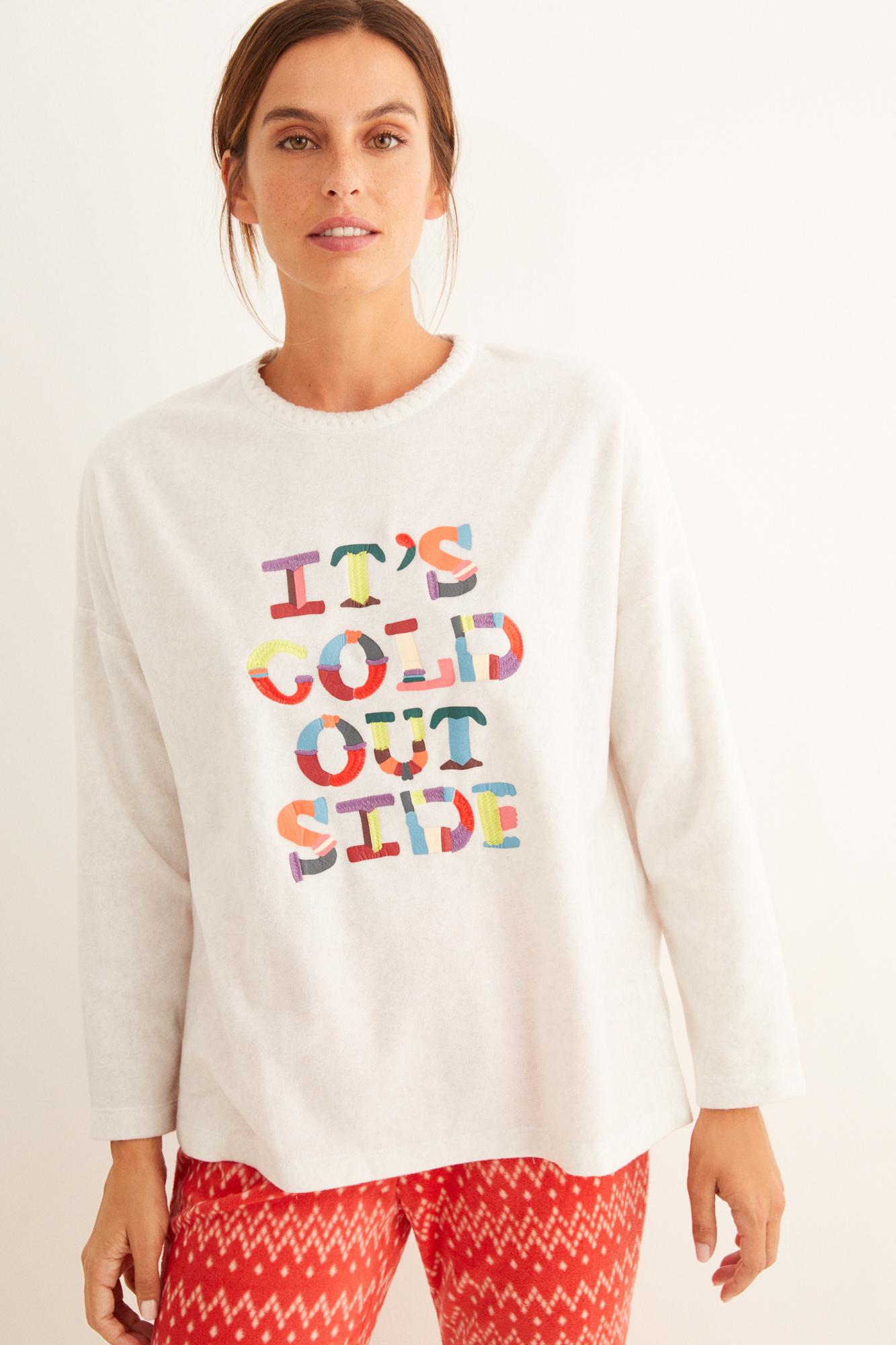 Pijama largo polar estampado letras