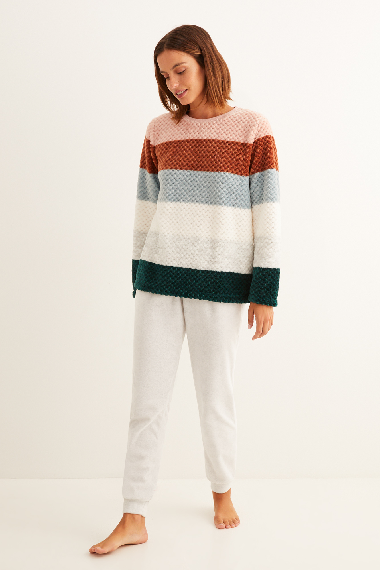 Pijama largo rayas multicolor