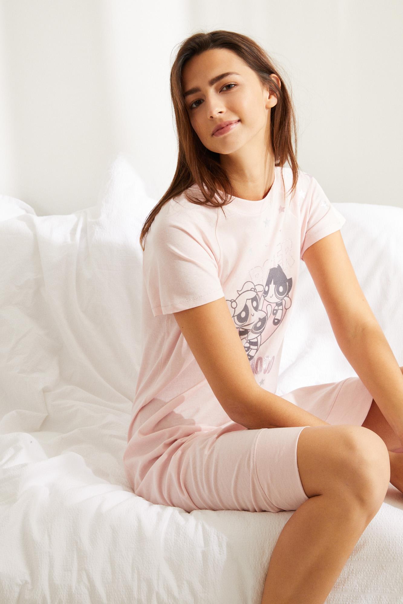 Camisón midi algodón Supernenas rosa