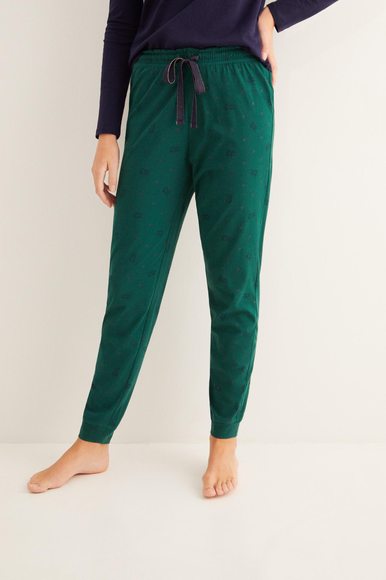 Pantalón largo de pijama estampado navidad verde
