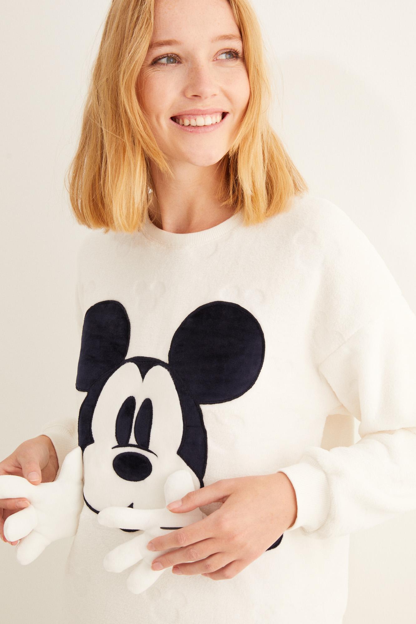 Pijama polar calandrado Mickey blanco
