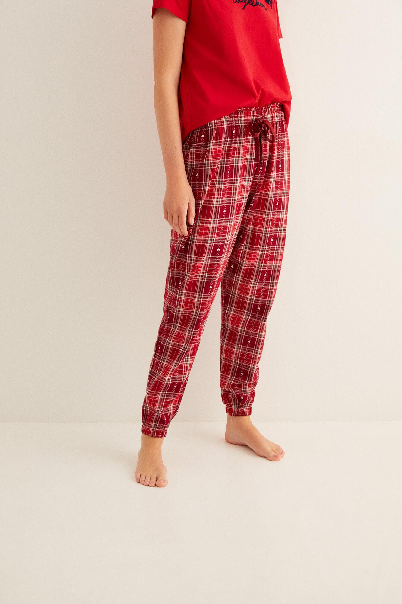 Pantalón largo de pijama franela corazón
